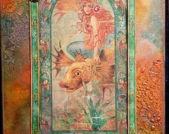 Mermaid altered canvas