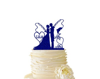 Glitter Bride and Groom With Fishing Poles With Initials or Date - Wedding - Anniversary - Fishing Cake Topper -  102