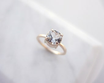 Solid 9k Yellow Gold White Topaz Solitaire Engagment Ring UK Size L 1/2, US Size 5 7/8, Square Band, Matte Finish