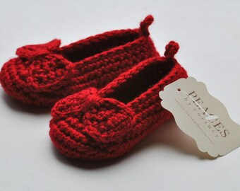 Baby Shoes - Ruby Red Baby Slippers with Ruby Red Bows