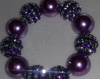 Purple bling chunky bead bracelet