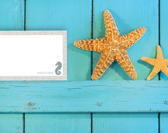 Notecard / Stationery - Personalized - Nautical Seahorse - Printable File