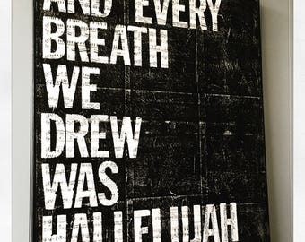 "Canvas Art Quote ""Hallelujah"" 24  X 30"