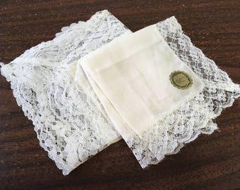 "Vintage 60's ""CLASSIC WHITE LACE"" Handkerchief / 2 Hankies"