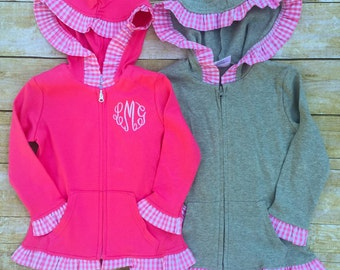 Girls Monogrammed Ruffle Jacket, Monogrammed Gingham Hooded Full Zip Jacket, Toddler Jacket, Cotton Jacket, Sweatshirt Jacket
