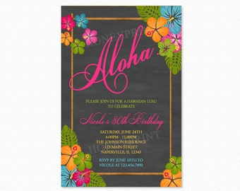 Luau Birthday Party Invitation, Aloha Birthday Party Invitation, Hawaiian, Tropical Flowers, Personalized, Printable or Printed