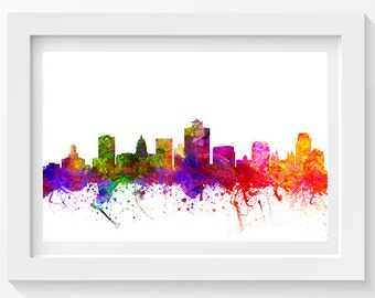 Salt Lake City Utah Skyline In Color Poster, Home Decor, Gift Idea 02