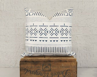 Navy Blue and White MudCloth Pillow Cover | 16x16 Decorative Pillow Case | Graphic African Inspired Mud cloth Pattern Print Design