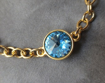 Gold Aquamarine Bracelet, March Birthstone Jewelry, Pale Blue Crystal, Gold Chain March Aquamarine Bracelet