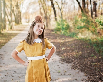 Retro 1960's Style Mustard Yellow Pleated Dress children, child toddler girls