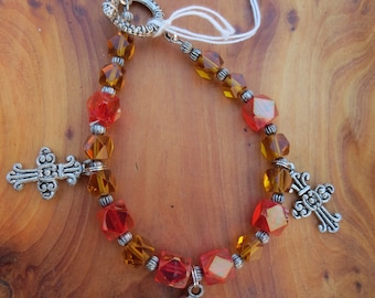 Cross and Faceted Bead Bracelet