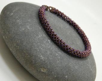Beaded Bracelet, Gift for Her, Chenille Bracelet, Bangle, Beadwoven Bracelet