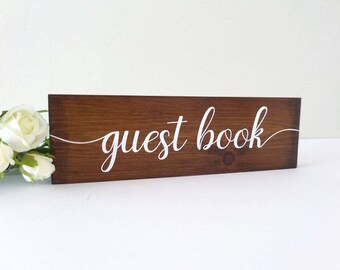 Guest Book Sign - Wedding Wooden Sign - Rustic Wedding - Wedding Decoration - Wedding Guest Book - Vintage Wedding Decor - Wedding Table