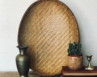 "Vintage Oblong Winnowing Basket, Woven Wall Basket, 15"" Long, Bamboo Trim, Coastal, Tropical, Boho, Bohemian Decor, Eclectic Home Decor"