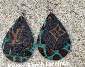 LV canvas earrings, doubke stack earrings, leather earrings, Teardrop earrings, earrings, custom earrings, LV canvas