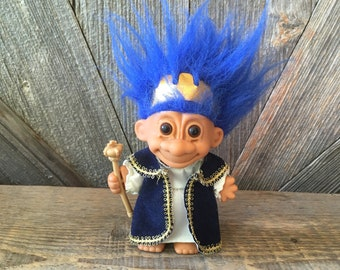 Vintage Queen Troll Doll {King or Queen Royal Troll with blue Hair} Russ Berrie {5 inch Troll} Vintage Troll Doll Royalty Crown and Gown