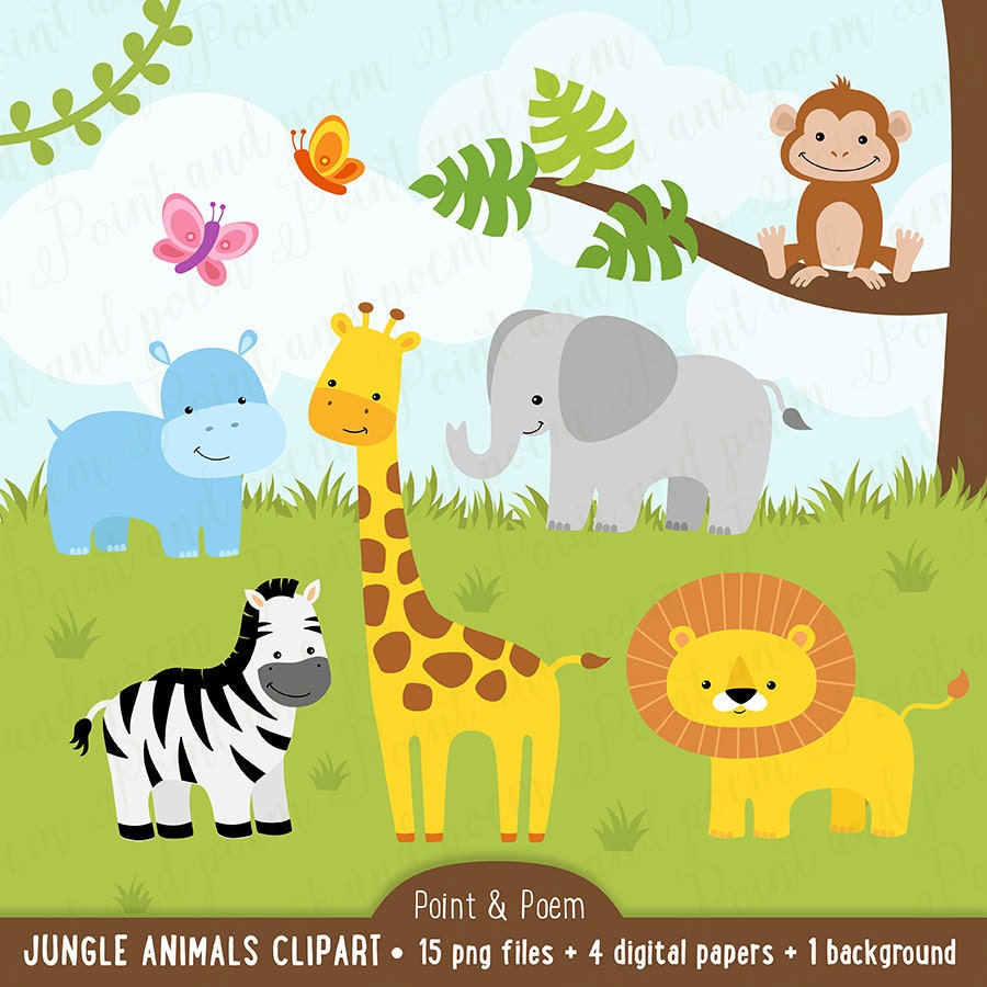 jungle clip art animals clipart baby cute digital papers baby rh etsystudio com jungle clip art images jungle clip art images