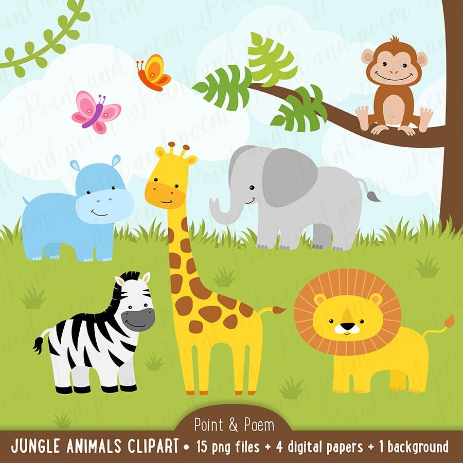 jungle clip art animals clipart baby cute digital papers rh etsy com baby jungle animals clipart free baby jungle animals clipart scriptures