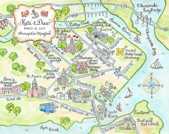 Custom Wedding Map - Annapolis- Hand Drawn Wedding Map-Watercolor Map