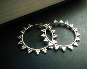 Fancy sterling silver hoop earrings; ornate sterling silver hoop earrings; silver hoops; silver hoop earrings