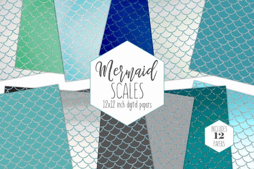 Glitter Mermaid Scales Digital Paper Pack Ocean Blue Backgrounds