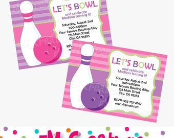 BOWLING Invitation - Bowling Birthday Party Invite - GIRL Bowling Party Printables -Pink and Purple Printable Bowling Invite