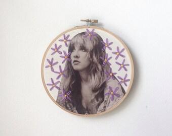 Embroidered Stevie Nicks Hoop Purple Daisies