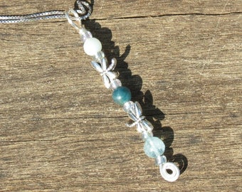 Girl's School Prep, Dragonfly, Amazonite, Apatite and Aquamarine Healing Stone Necklace with Positive Healing Energy!