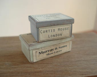 Dollshouse miniature  vintage boxes, miniature boxes, dollshouse box, miniature shop,  dollshouse box,  miniature box 1:12 one inch scale
