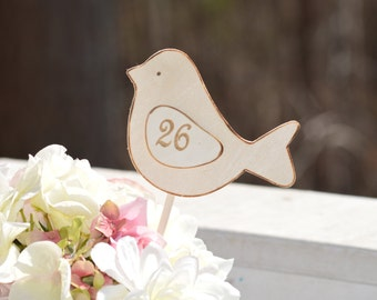 love birds table numbers, rustic wedding table decor, love birds wedding, shabby chic reception decor