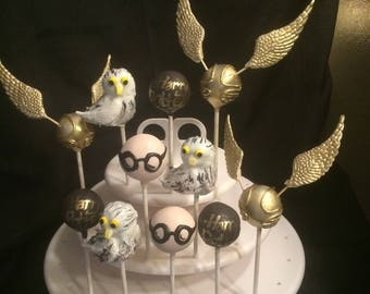 12 HARRY POTTER Assortment cake pops, Golden Snitch