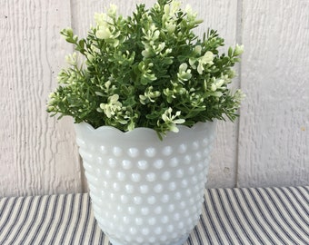 Vintage Milk Glass Bubble Planter_ from Fire King Anchor Hocking