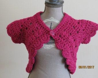 GORGEOUS bright cerise crocheted cotton bolero 0-3 months