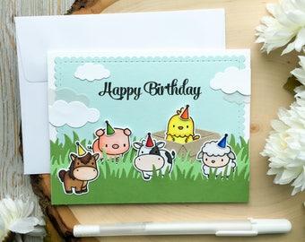 Handmade Birthday Card, Happy Birthday Handmade Cards, Cute Birthday Card, Farm Birthday Card, Kid Birthday Card, Baby, Child, Toddler,