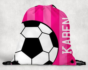 Personalized Drawstring Backpack - Soccer Backpack - Soccer Sports Bag - Personalized Kids Drawstring Bag