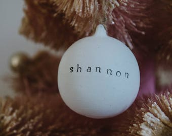Personalised Baubles - White Ceramic - Your Name - Custom - Christmas