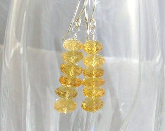 Citrine Earrings, Rondelle Stack, Argentium Silver