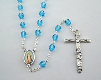 Light Blue Sacred Heart Immaculate Heart Rosary (88)