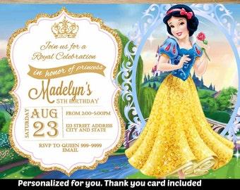 SUMMER SPECIAL- Snow white Birthday Invitation,Snow white Invitation,Snow white Invite,Birthday Invitation,Snow white, Princess