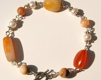 Carnelian Bracelet with Sterling Silver, Pearls, Moonstone, & Mookaite Mookite
