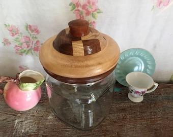 Vintage Apothecary jar, inlaid wood lid, wood lidded jar, glass jar with wood lid, Unique jar, Jar with wood lid, glass canister with lid