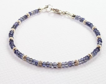 Iolite Bracelet, Iolite and Silver Beaded Bracelet, Boho Chic Gemstone Bracelet, Dainty Gemstone Stacking Bracelet, Womens Beaded Bracelet