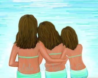"Three Sisters Art Print Sister Painting Print Sister Friends Brown Hair Girl Art Print Wall Decor ""Oh So Pretty Girls"" Leslie Allen Fine Art"