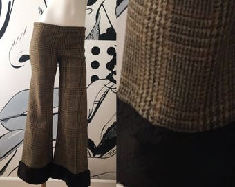 Houndstooth Wool Bell Bottom Pants
