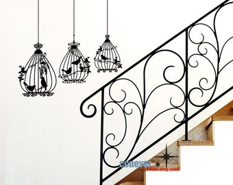 Set of 3 Birdcage----art Graphic Vinyl wall decals stickers mural home decor
