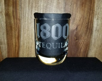 Personalized Jose Cuervo 1800 tequila Etched Sandblasted Glass, Christmas Gift,
