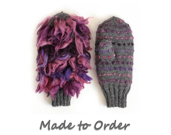 Thrummed Mittens / Knitted and insulated with 100% wool thrums / Handmade by Dubbele Dutch