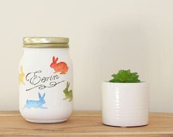 Hand Painted Eerin Mason Jar with Easter Rabbits