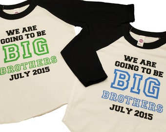 TWIN BIG BROTHER announcement shirt - Kid's personalized big bro date raglan baseball shirt
