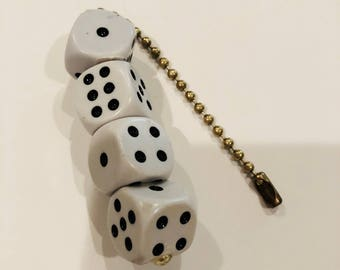 Dice Ceiling Light/Fan Pull Chain with Brass tone Chain